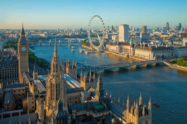 Palace of Westminster, Big Ben, River Thames and London Eye, seen from Victoria Tower, London, England, United Kingdom, Europe